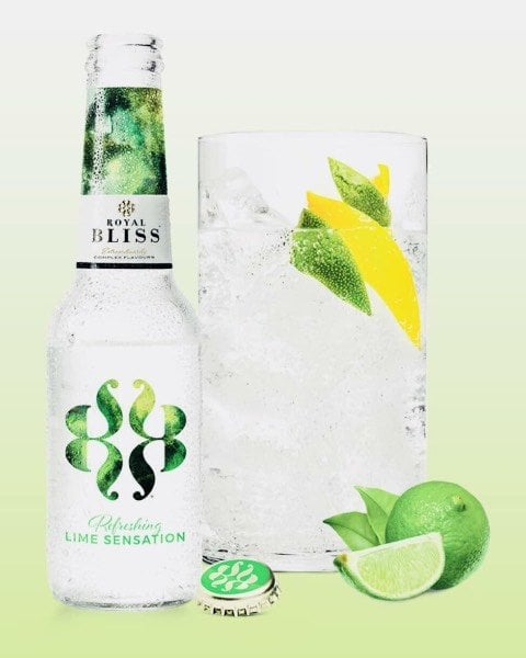 Royal Bliss Lime Sensation botella y combinado con lima